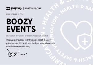 Boozy Events COVID health and safety certificate