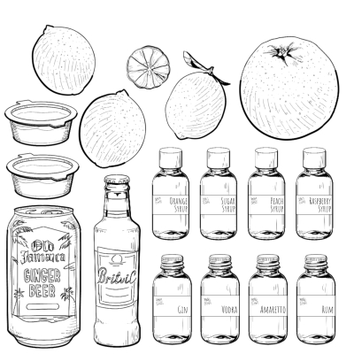 4 cocktail ingredient pack contents hi-res